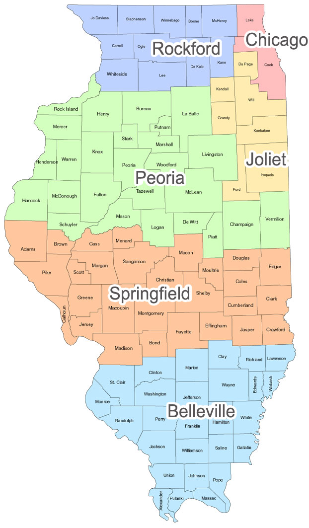Map of Illinois Dioceses